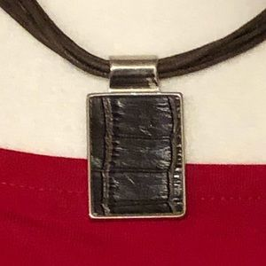 NWT Cookie Lee Silver Faux Brown Leather Necklace